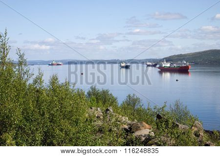 Ships in the Kola bay