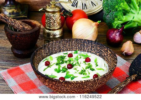 Parsnip Puree Soup with Cream, Dill, Onion, Cranberries