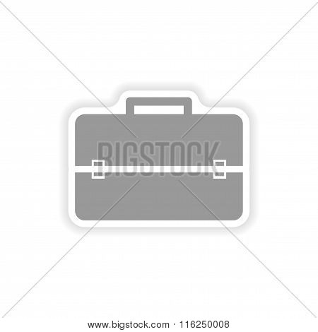 stylish paper sticker on white background business suitcase