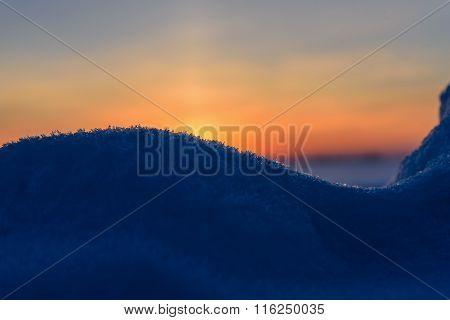 Sunset Snowdrift Snow Background