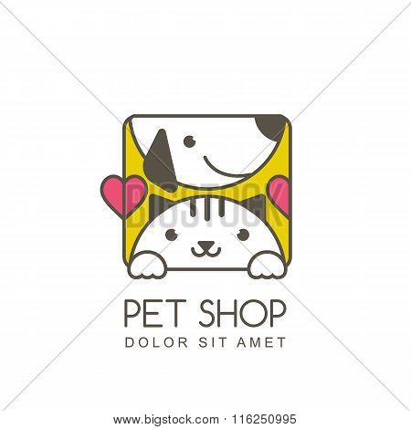 Vector Outline Illustration Of Cute Muzzle Of Cat And Smiling Dog.