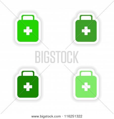 assembly realistic sticker design on paper medicine chest