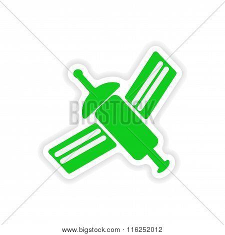 icon sticker realistic design on paper satellite