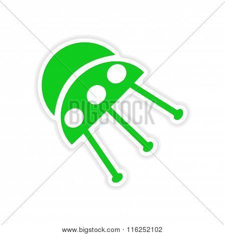 icon sticker realistic design on paper UFO