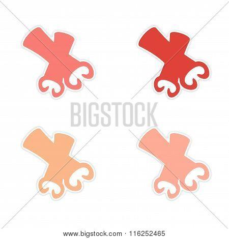 assembly realistic sticker design on paper cinnamon sticks