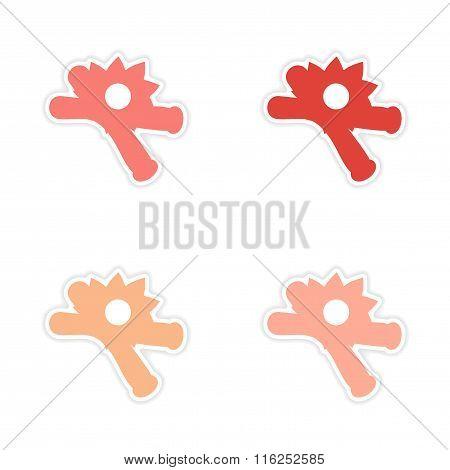 assembly realistic sticker design on paper vanilla