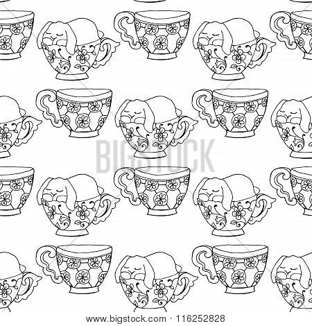Hand-drawn Illustrations. Black And White Teacups. Postcard Cute Funny Fell Asleep In A Cup. Seamles