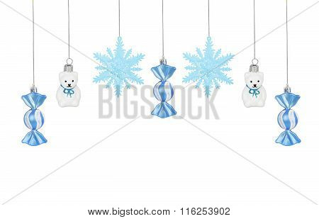 Bright Christmas Tree Toy Blue Candes, Snowflakes And Teddy Bears