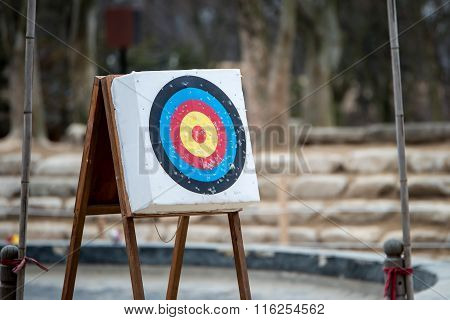 Archery With Arrows And Holes From Previous Hits