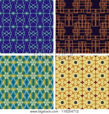 Set Of Seamless Vector Geometric Patterns