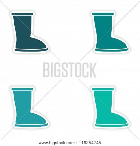 concept stylish paper sticker on white background ugg boots