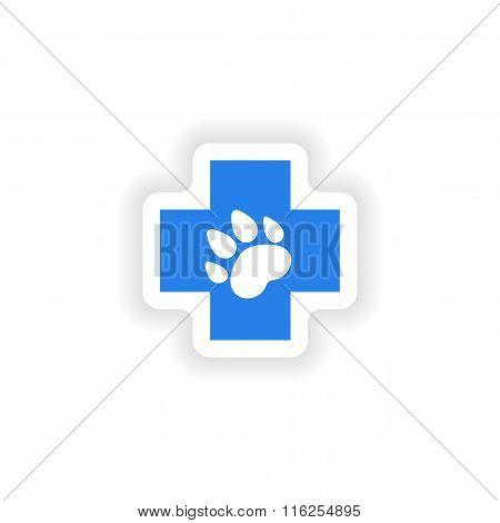 icon sticker realistic design on paper Veterinary