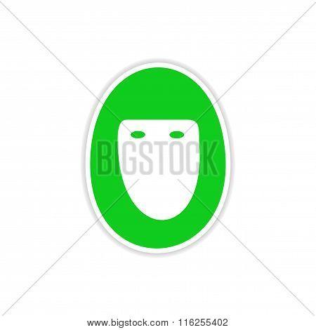 icon sticker realistic design on paper hijab