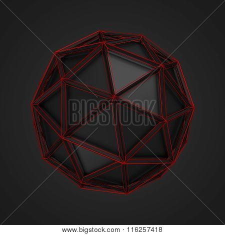 Low Poly Sphere with Red Wireframe.