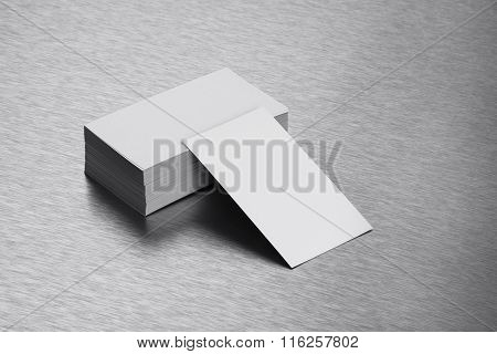 Blank Business Card Mockup On Brushed Steel Background