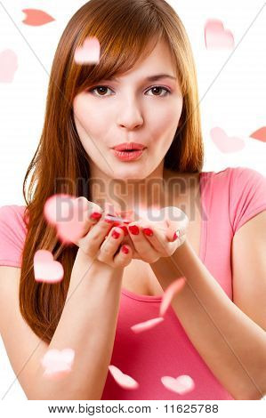 Woman Blowing Up Kiss