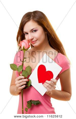Woman With Card And Rose Flower