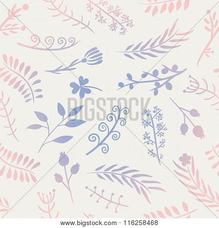 Floral doodle vector seamless pattern.