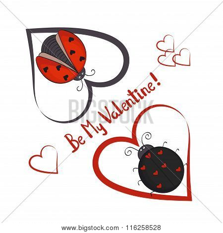 Be my Valentine card template. Couple of cute ladybugs with hearts.
