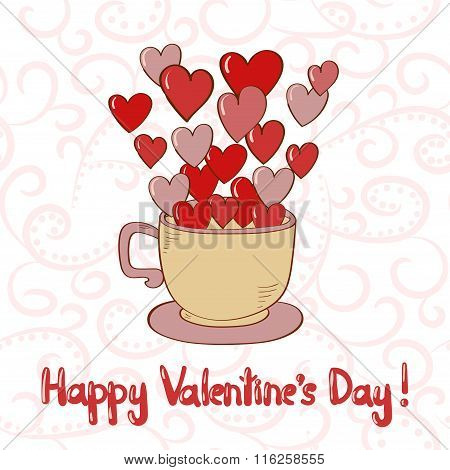 Happy Valentines Day card. Doodle cup with red hearts as steam