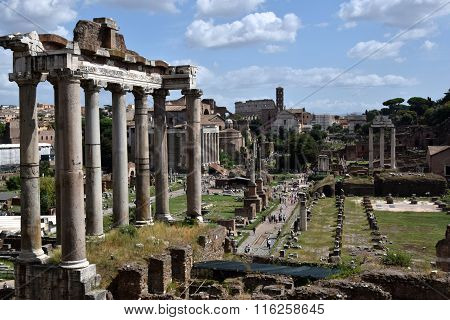The Roman Forum In Rome Italy