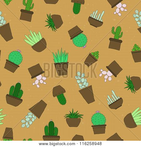 Seamless pattern with hand drawn succulents and cactuses.