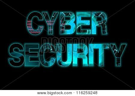 Cyber Security Laser Writing On A Black Background
