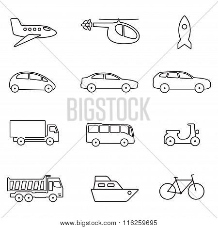 Transportation icon set. Vector outline illustration: car, airplane, bike, ship bus, helicopter.
