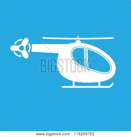 Helicopter icon. Vector copter silhouette. White copter on blue background.