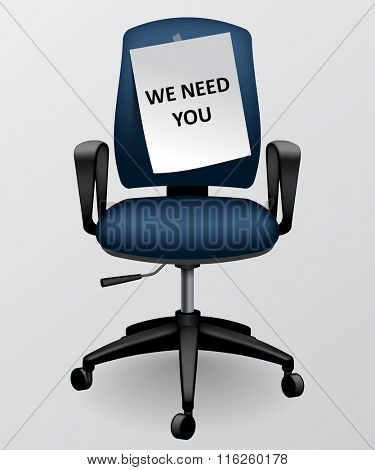 Business chair with paper sheet with we need you message. Vector illustration