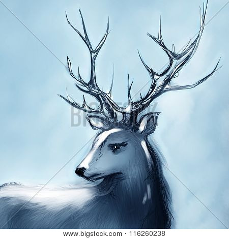 Winter Snow Forest Navy Deer With Big Horns