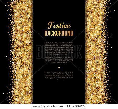 Black and Gold Banner, Greeting Card Design