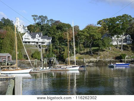 Boats In The Rockport Marine Harbor In Maine