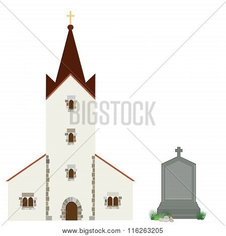 Church And Gravestone
