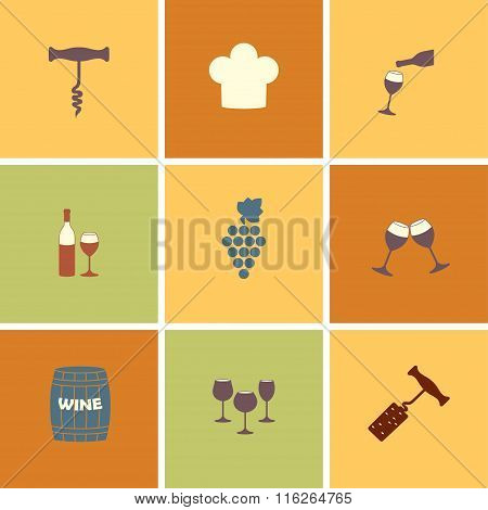 Wine icons set. Design for restaurant, food and drink. Vector illustration.