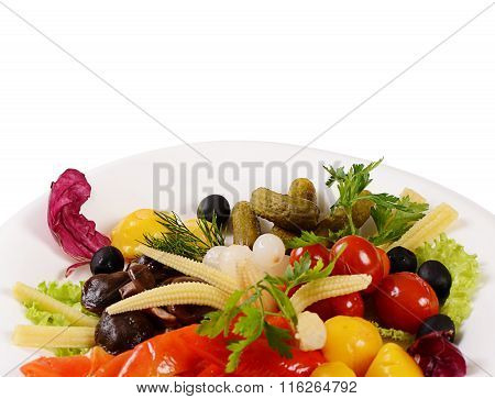 Assorted Marinated Vegetables And Mushrooms