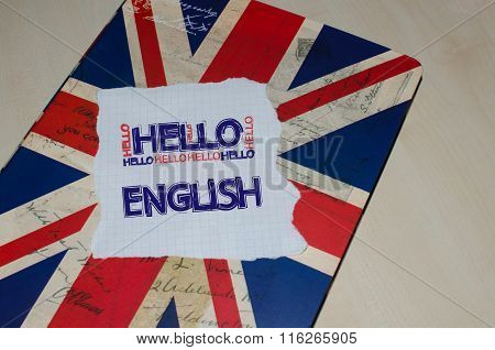 Hello English written on piece of paper