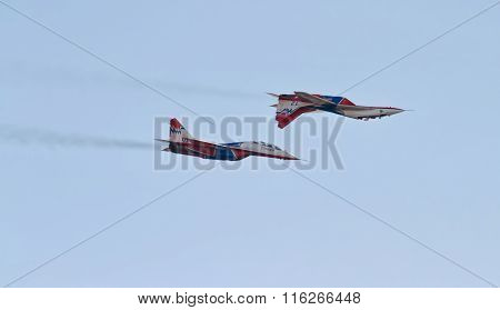 Aerobatics Performed By Aviation Group Of Aerobatics Military-air Forces Of Russia