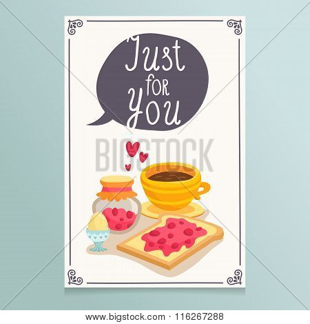 Valentine's Day Greeting Card Design With Romantic Breakfast - Coffee And Toast With Jam