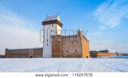 Herman Castle In Narva. Estonia. Winter Season