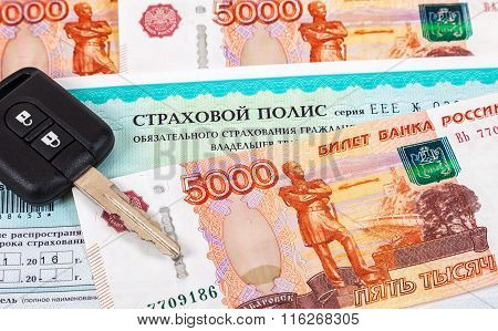 Car Insurance. Compulsory Third Party/green Slip Insurance Policy, Russian Rubles And And Car Key
