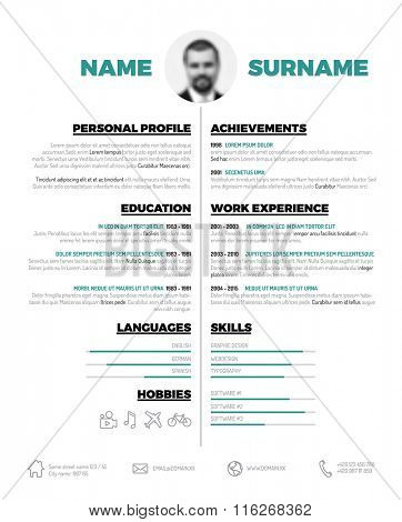 Vector minimalist cv / resume template - minimalistic black and white version