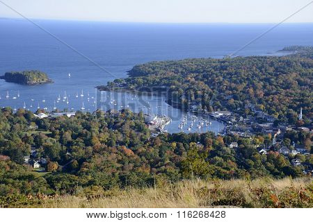 Aerial View Of Camden Harbor In Maine
