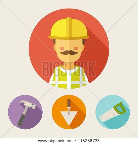 Set Of Flat Style Vector Icons. Builder, Hammer, Trowel, Saw
