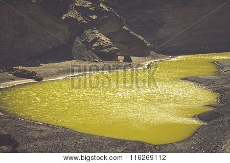 Green Lagoon At El Golfo, Lanzarote, Canary Islands, Spain.