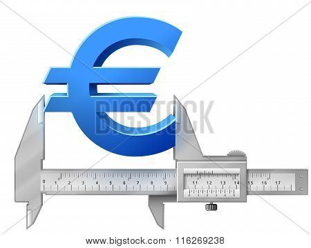 Horizontal Caliper Measures Euro Symbol