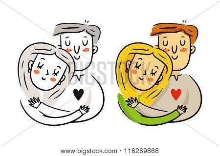 Freehand Cartoon Vector Cuddling Couple In Love