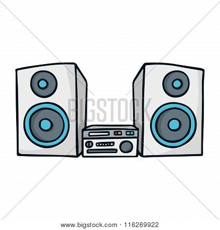 Sound System Cute Doodle Sketch Illustration Isolated On White