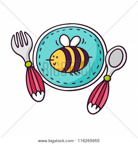 Baby Tableware - Plate, Spoon And Fork - Bright Vector Children Illustration Isolated On White