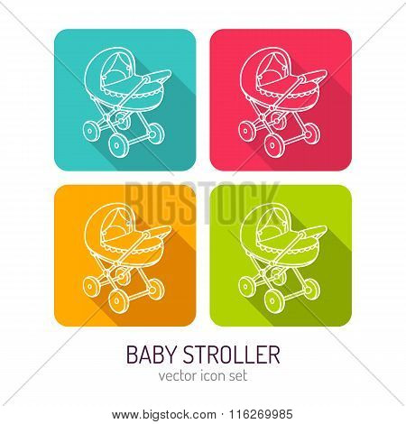 Vector Line Art Baby Stroller Mobile Icon Set In Four Color Variations With Long Shadows